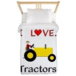 I Love Yellow Tractors Twin Duvet