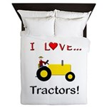 I Love Yellow Tractors Queen Duvet