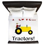I Love Yellow Tractors King Duvet
