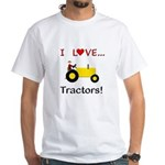 I Love Yellow Tractors White T-Shirt