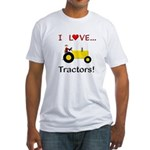 I Love Yellow Tractors Fitted T-Shirt
