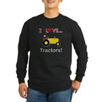I Love Yellow Tractors Long Sleeve Dark T-Shirt