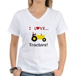 I Love Yellow Tractors Women's V-Neck T-Shirt