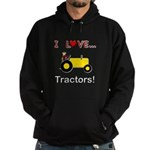 I Love Yellow Tractors Hoodie (dark)
