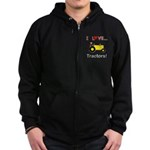 I Love Yellow Tractors Zip Hoodie (dark)
