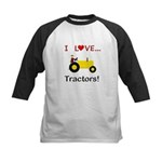I Love Yellow Tractors Kids Baseball Jersey