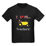 I Love Yellow Tractors Kids Dark T-Shirt