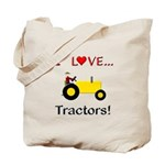 I Love Yellow Tractors Tote Bag