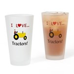 I Love Yellow Tractors Drinking Glass
