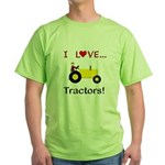 I Love Yellow Tractors Green T-Shirt