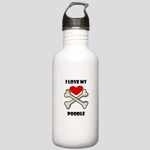 I Love My Poodle Water Bottle