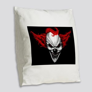 Happy Evil Clown Red Hair Burlap Throw Pillow