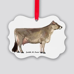 Brown Swiss Dairy Cow Picture Ornament