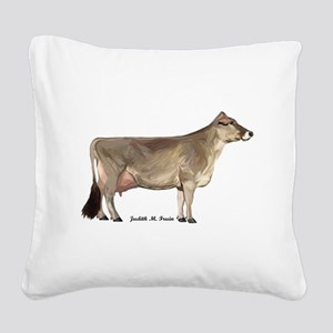 Brown Swiss Dairy Cow Square Canvas Pillow