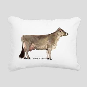Brown Swiss Dairy Cow Rectangular Canvas Pillow