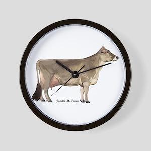 Brown Swiss Dairy Cow Wall Clock