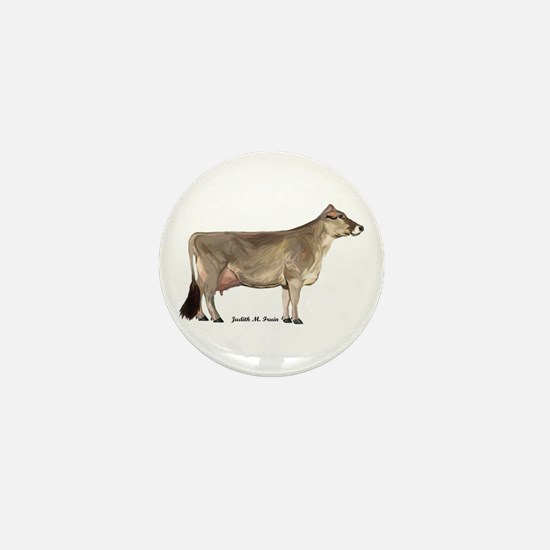 Brown Swiss Dairy Cow Mini Button