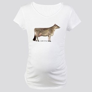 Brown Swiss Dairy Cow Maternity T-Shirt