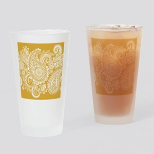 WHITE PAISLEY ON GOLD Drinking Glass