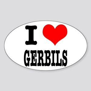 I Heart (Love) Gerbils Oval Sticker