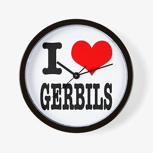 I Heart (Love) Gerbils Wall Clock