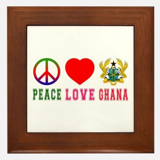 Peace Love Ghana Framed Tile