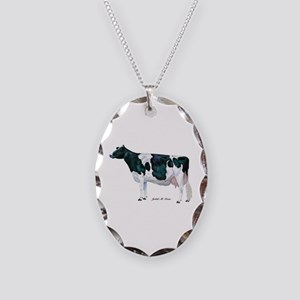 Holstein Cow Necklace Oval Charm