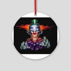 Killer Evil Clown Round Ornament
