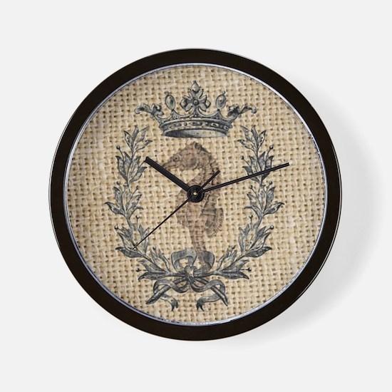 vintage french botanical seahorse paris Wall Clock