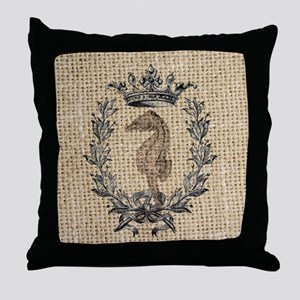vintage french botanical seahorse par Throw Pillow