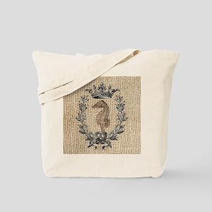 vintage french botanical seahorse paris a Tote Bag