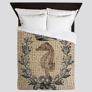 vintage french botanical seahorse pari Queen Duvet