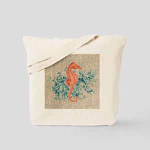 vintage french botanical seahorse decorat Tote Bag