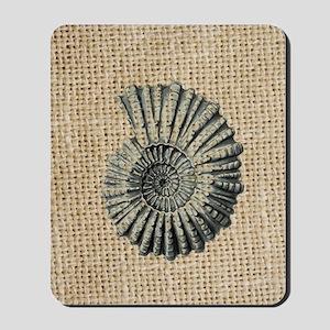 romantic seashell burlap beach art Mousepad