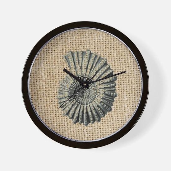 romantic seashell burlap beach art Wall Clock