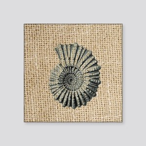 "romantic seashell burlap be Square Sticker 3"" x 3"""