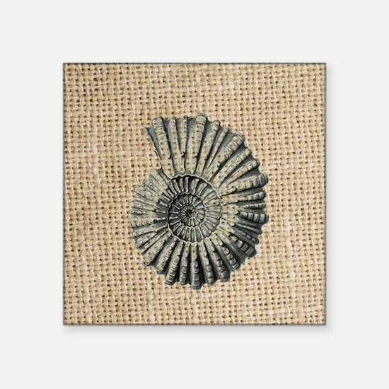 """romantic seashell burlap be Square Sticker 3"""" x 3"""""""
