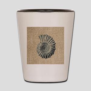 romantic seashell burlap beach art Shot Glass