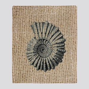 romantic seashell burlap beach art Throw Blanket