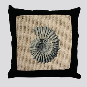 romantic seashell burlap beach art Throw Pillow