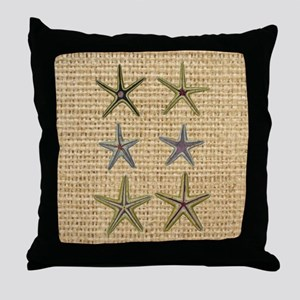 starfish  seashell burlap beach art Throw Pillow