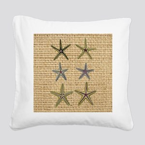 starfish  seashell burlap bea Square Canvas Pillow