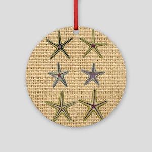 starfish  seashell burlap beach art Round Ornament