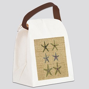 starfish  seashell burlap beach a Canvas Lunch Bag