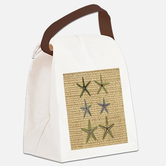 starfish  seashell burlap beach a Canvas Lunch Bag