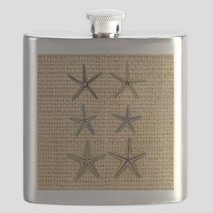 starfish  seashell burlap beach art Flask