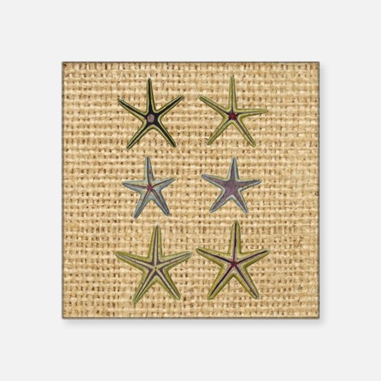 "starfish  seashell burlap b Square Sticker 3"" x 3"""