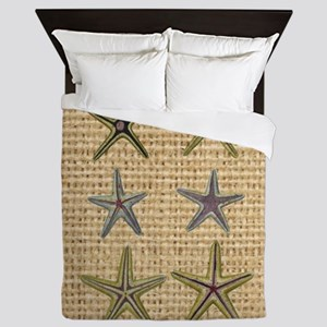 starfish  seashell burlap beach art Queen Duvet