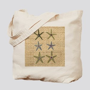 starfish  seashell burlap beach art Tote Bag