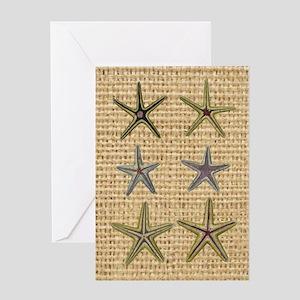 starfish  seashell burlap beach art Greeting Card